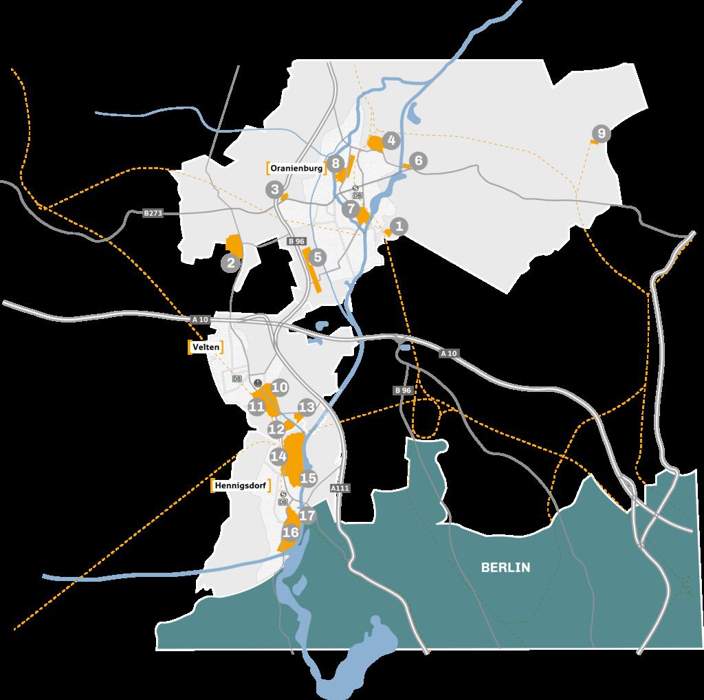 Karte der Städte Oranienburg, Hennigsdorf und Velten. Die Gewerbegebiete sind je mit einer Zahl von 1-17 nummeriert.
