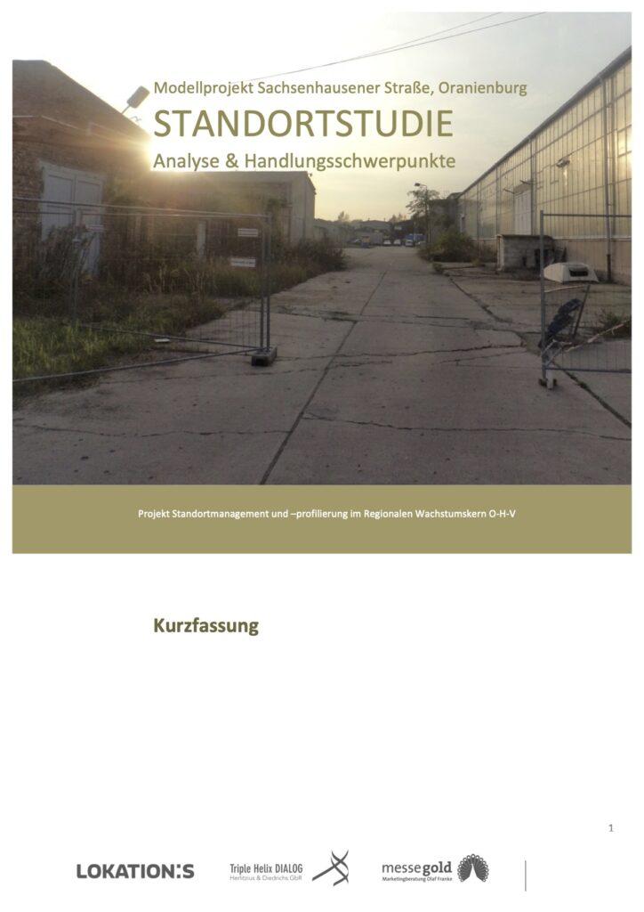 Standortstudie Kurzfassung, Modellprojekt Sachsenhausener Straße, 2015