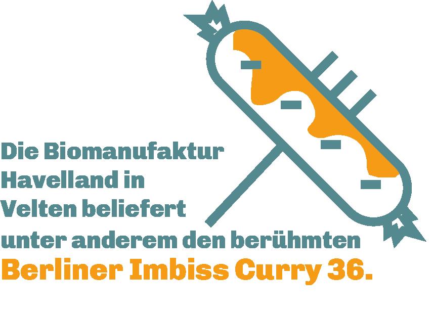 """Es ist eine Currywurst auf einer Gabel zu sehen. Daneben steht """"die Biomanufaktur Havelland in Velten beliefert unter anderem den berühmten Berliner Imbiss Curry 36""""."""