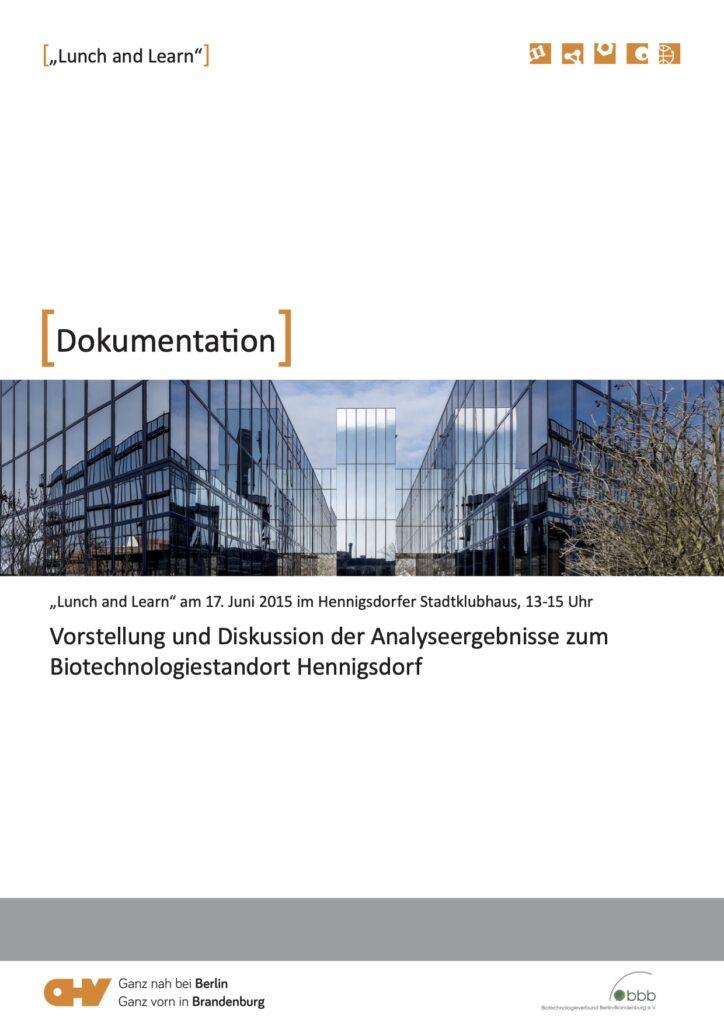 Lunch and Learn Analyseergebnisse zum Biotechnologiestandort Hennigsdorf 2015