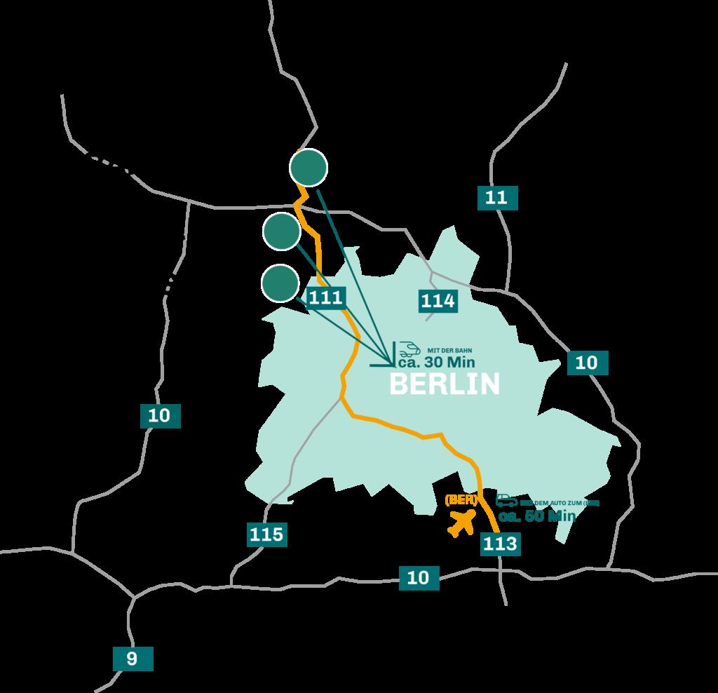 """Karte von Berlin mit Drei Kreisen am nördlichen Rand. Die Kreise markieren die Standorte der Städte Oranienburg, Hennigsdorf und Velten. Je ein Pfeil zeigt in die Stadtmitte Berlin. Neben dieses Pfeilen steht """"mit der Bahn ca. 30 Minuten"""". Eine orangene Linie zeigt von den Städten zum Flughafen Schönefeld. An der Linie sthen """"mit dem Auto ca. 50 Minuten""""."""