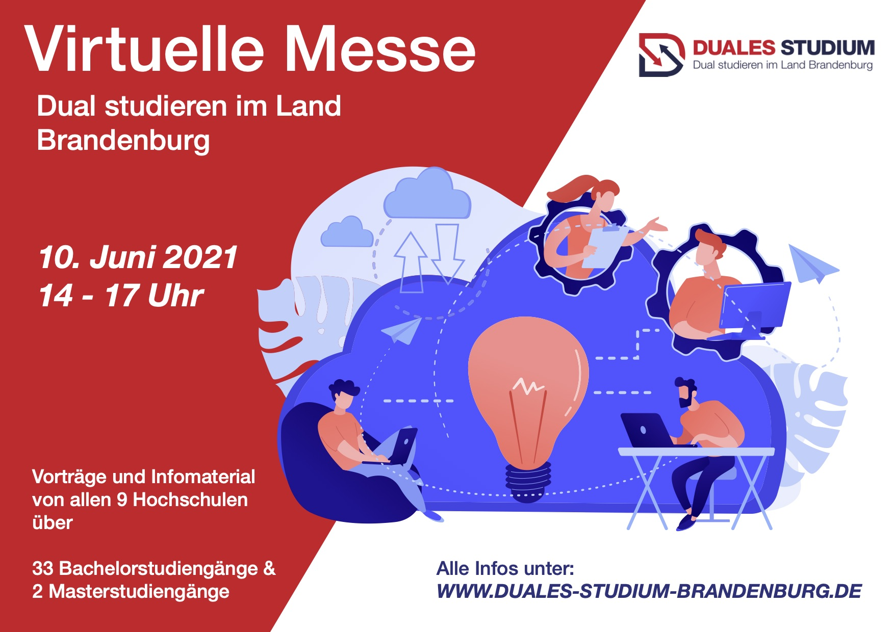 """10.06.2021: Virtuelle Messe """"Dual studieren im Land Brandenburg"""""""